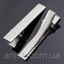 Основа для заколки Металлическая, Цвет: Платина, Размер: Длина 47мм, Ширина 8мм, (УТ000005049)
