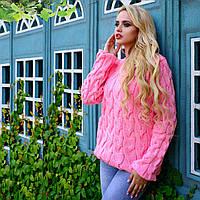 Акриловый женский свитер М  776907  Розовый