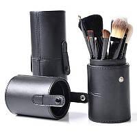 Базовый набор кистей для макияжа 12 шт + тубус | Натуральные кисти для макияжа
