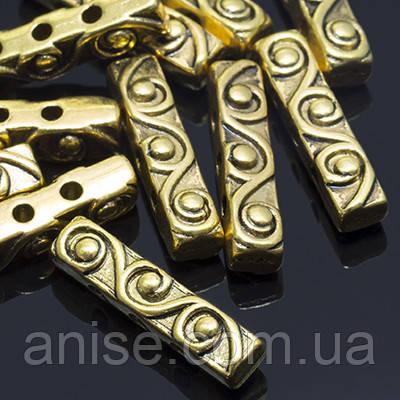 Разделитель для Бусин Прямоугольный Куб, Металл, на 3 отверстия, Цвет: Античное Золото, Размер: 18х4х5мм, Отверстие 1.5мм, (УТ0010080)