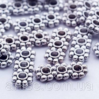 Разделитель для Бусин Прямоугольный, Металл, на 3 отверстия, Цвет: Античное Серебро, Размер: 10.5х4.3мм, Отверстие 1.5мм, (УТ000000775)