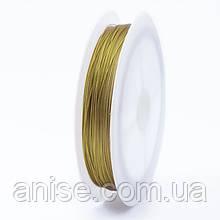Тросик Ювелирный Сталь 0.3 мм/30м, Цвет: Золото, Размер: Диаметр 0.3 мм, около 30 м/катушка