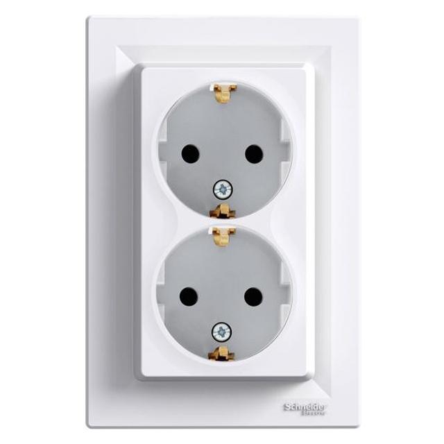 Розетка Schneider Electric Asfora, двойная c заземлением, белая - «Мой  Климат» интернет 856fed0f7a4