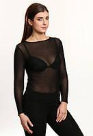 Мира черная блузка сетка