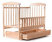 Кроватка детская Наталка ольха светлая с маятником, ящиком и откидной боковушкой 20114