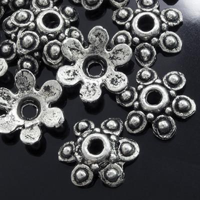 Шапочки для Бусин Металлические, Цветок, Цвет: Античное Серебро, Размер: 10х3мм, Отверстие 1мм, (УТ0001820)