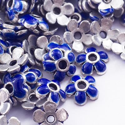 Шапочки Латунные для Бусин, Эмаль, Цветок, Цвет металла: Античное Серебро, Размер: 6х2мм, Отверстие 1мм, (УТ0028176)