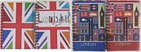 """Тетрадь A5 6120 на спирале """"Лондон -неон"""" с 4-мя разделителями, 120листов, обложка ПВХ"""