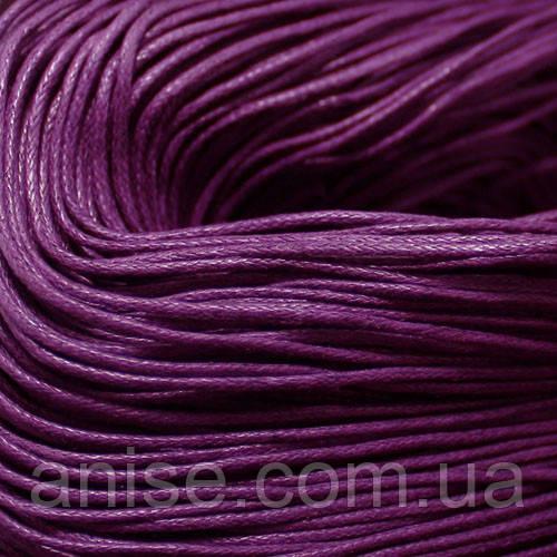 Шнур Вощеный Хлопковый, Цвет: Фиолетовый, Размер: Толщина 1мм, около 80м/связка, (УТ000003379)