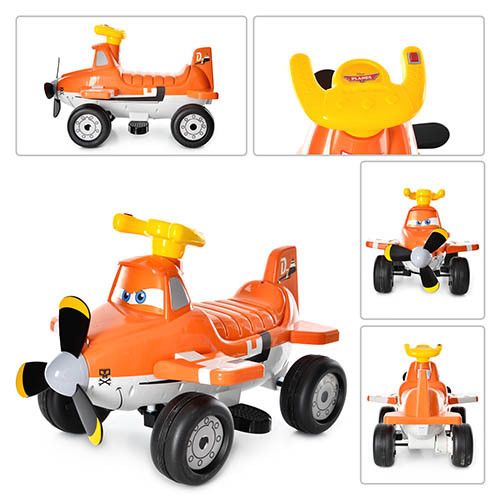 Детский электромобиль P 5211  с крыльями оранжевый