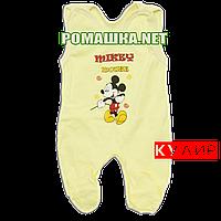 Ползунки высокие с застежкой на плечах р. 56 ткань КУЛИР 100% тонкий хлопок ТМ Алекс 3142 Желтый-2