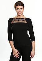 Inka черная блузка c кружевом тмViolana, Польша