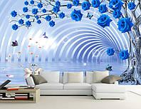 """Шикарные 3D фотообои """"Дерево с синих роз"""""""