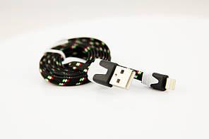 USB кабель с разъемом Lightning в тканевой оплетке 1 м., фото 2