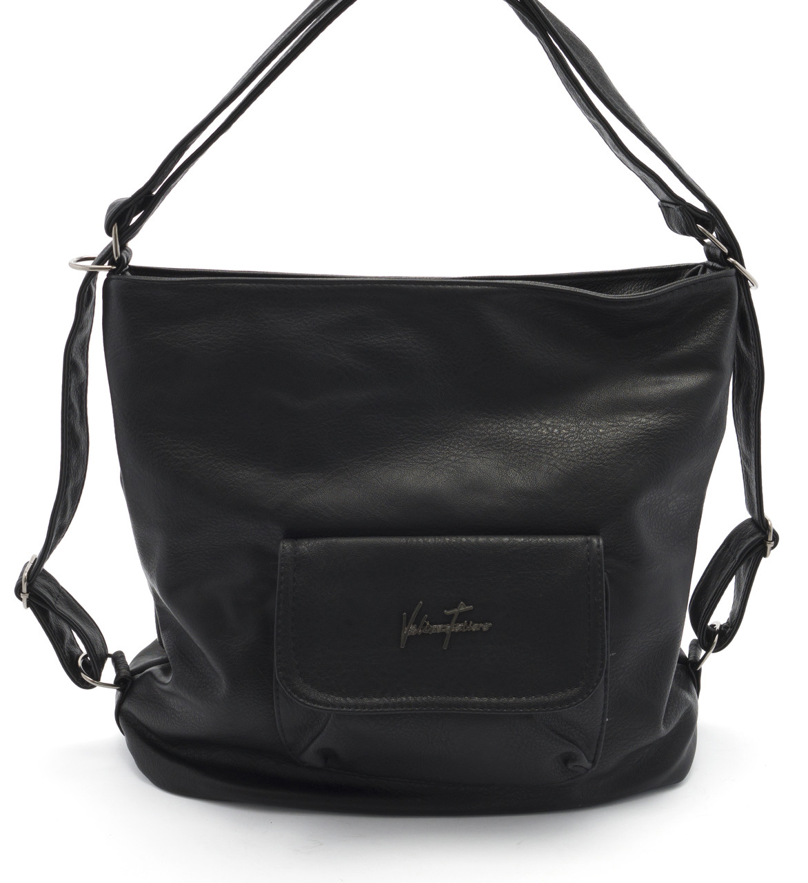 Объемная женская черная сумка-рюкзак  Б/Н art.81037