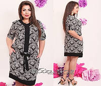 Легкое,свободное штапельное платье черное с белым принтом