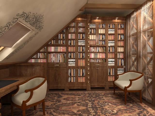 Дизайн интерьера в стиле кантри. Кабинет, библиотека, зона отдыха.