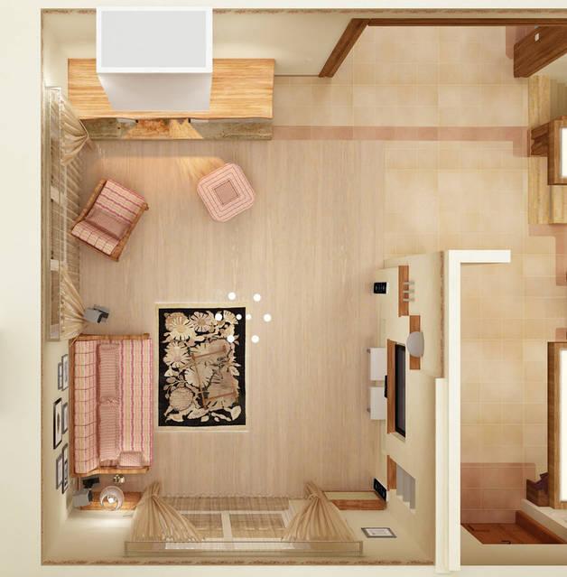 Дизайн интерьера в стиле кантри. Зал.
