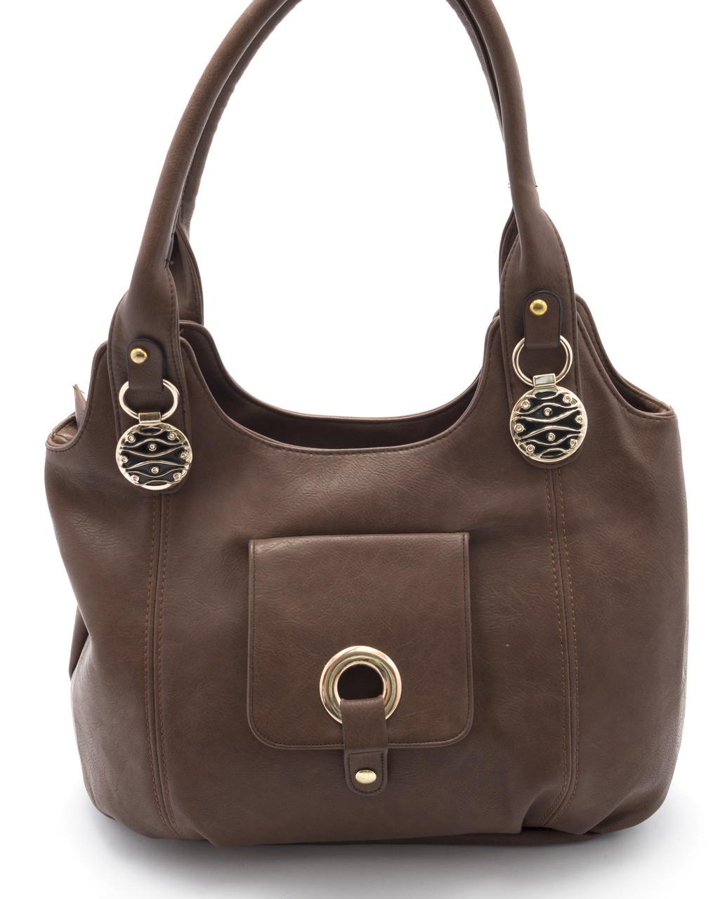 Вместительная женская сумка кофейного цвета Б\Н art. C-01