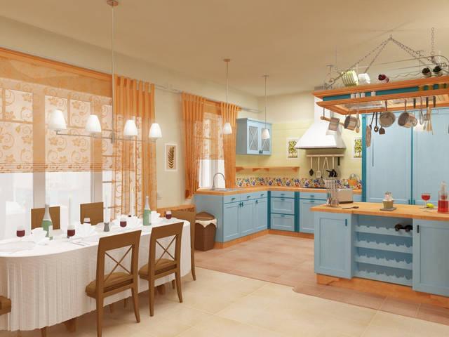 Дизайн интерьера в стиле кантри. Кухня-столовая.