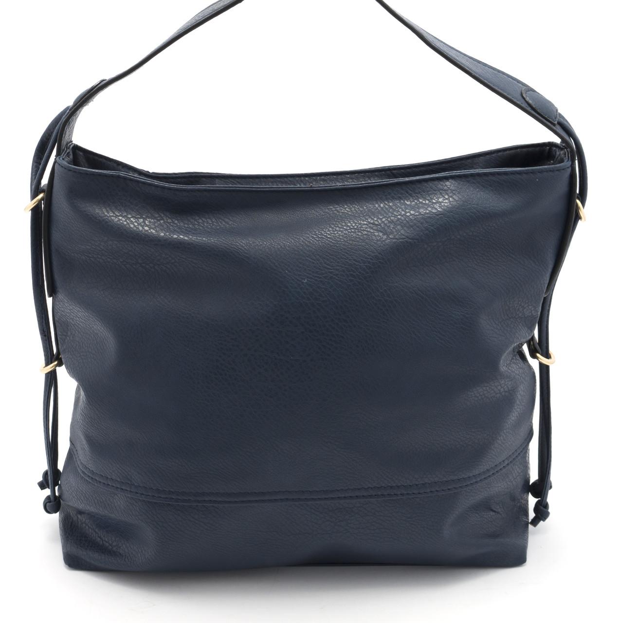 Аккуратная и вместительная женская сумка-рюкзак Б/Н art. 2025 синего цвета