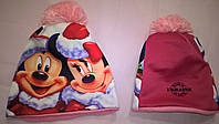 """Детская зимняя шапка с 3D картинкой  """"Минни-Микки  Маус"""""""