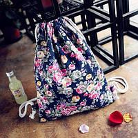 Женский рюкзак мешок синий с цветами, фото 1