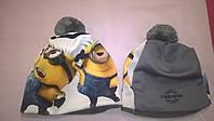 """Детская зимняя шапка с 3D картинкой  """"Миньоны"""""""