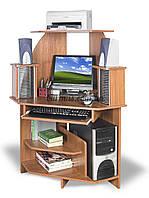 Компактный угловой компьютерный стол с полками, СК-71, 72*72, яблоня-локарно