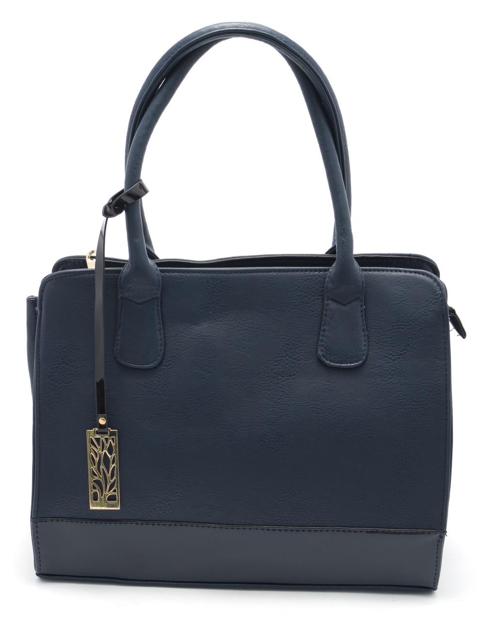 Классическая женская сумочка средних размеров Б/Н art. 2049 синего цвета