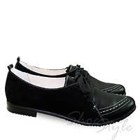 Женские кожаные туфли  на низком каблучке 38 размер со шнуровкой