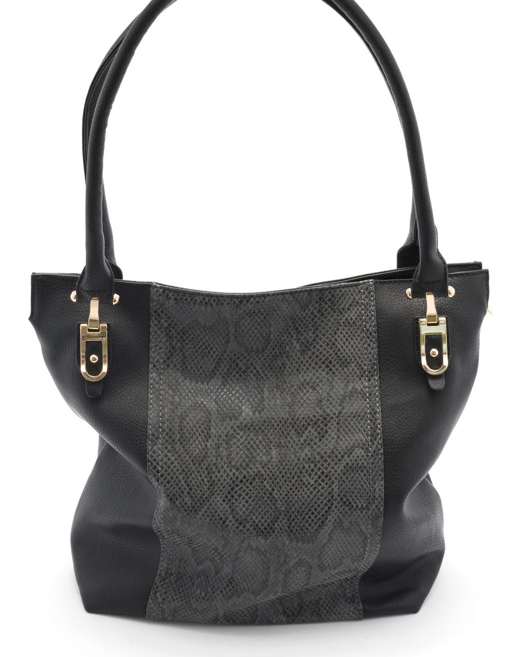 Черная женская сумка с вставкой под кожу питона SOFIYA art. 712