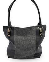 Черная женская сумка с вставкой под кожу питона SOFIYA art. 712, фото 1