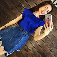 Блуза женская шифоновая стильная синяя 42