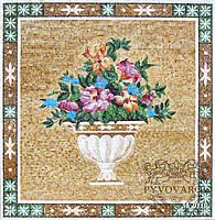 Мозаика ваза с цветами из цветного стекла
