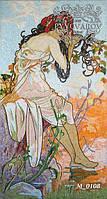 Мозаика девушка из кусочков цветного стекла