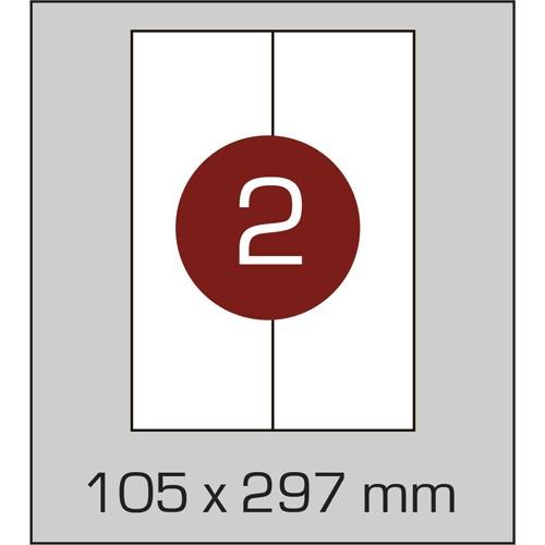 Этикетки самоклеящиеся (105х297 мм) - 2 шт. на листе А4, 100 листов в картонной упаковке