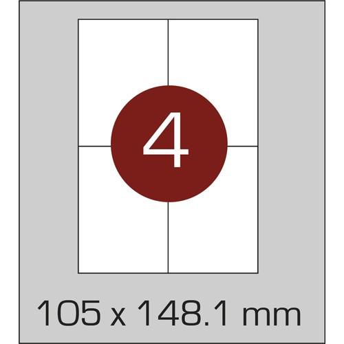 Этикетки самоклеящиеся (105х148,1 мм) - 4 шт. на листе А4, 100 листов в картонной упаковке