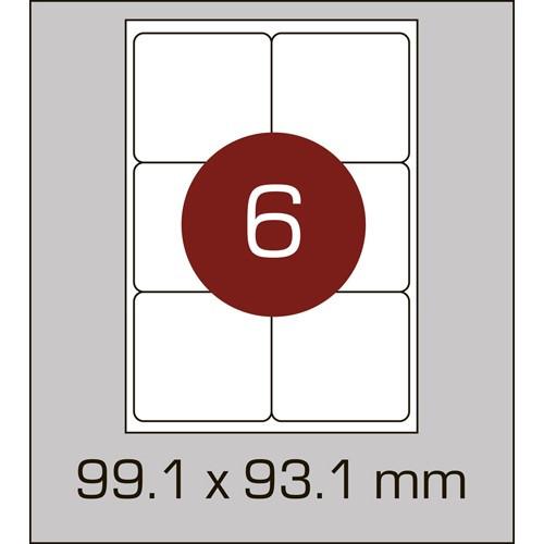 Этикетки самоклеящиеся (99,1х93,1 мм) с закругленными углами-6 шт. на листе А4, 100 листов в картонной упаковк