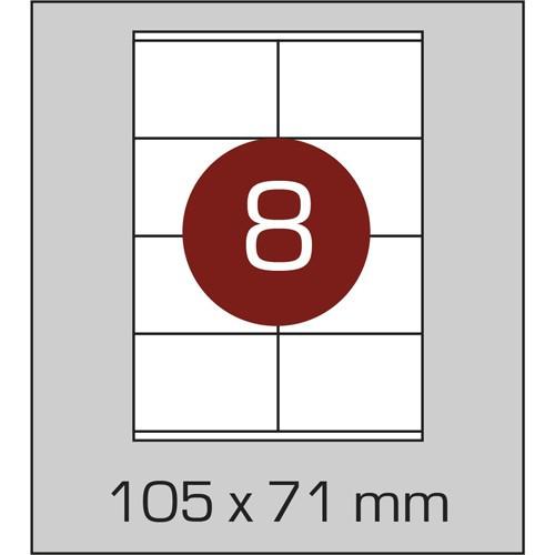 Этикетки самоклеящиеся А4 (105х71 мм) - 8 шт. на листе А4, 100 листов в картонной упаковке
