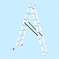 Лестница универсальная двухсекционная INTERTOOL LT-0208 (3.96 м)