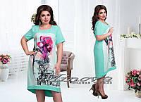 Модное,стильное платье минт+принт цветы