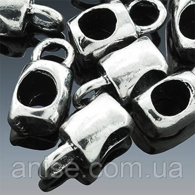 Бейл в Тибетском Стиле, Кубическая форма, Металл, Цвет: Античное Серебро, Размер: 12х6х7мм, Отв. 3мм и 5мм, (УТ0002311)