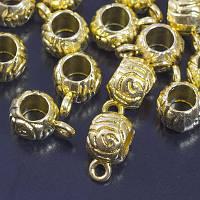 Бейл Бочонок, Металл, Цвет: Золото, Размер: 12x7x8мм, Отверстие 2мм и 5мм, (УТ0029237)