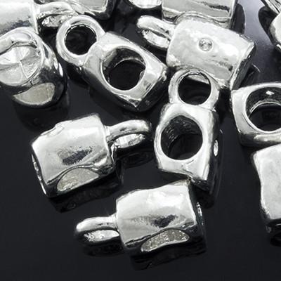 Бейл в Тибетском Стиле, Кубическая форма, Металл, Цвет: Серебро, Размер: 12х6х7мм, Отв. 3мм и 5мм, (УТ0002310)