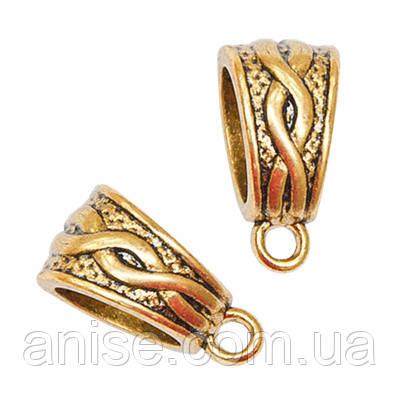 Бейл в Тибетском Стиле, Металл, Цвет: Античное Золото, Размер: 14х7.5х9мм, Отверстие 1.5мм, (БА000001547)