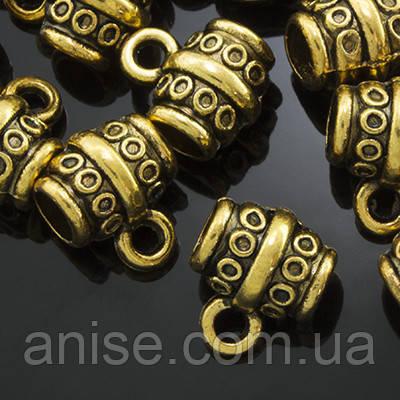 Бейл Трубка, Метал, Тибетський Стиль, Колір: Античне Золото, Розмір: 8х10х7мм, Отвір 2мм і 4мм, (УТ0002189)