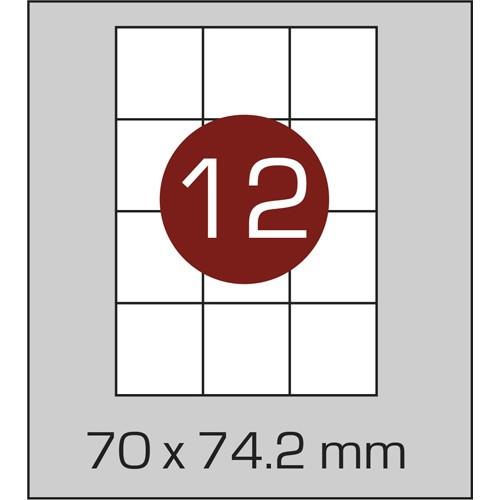 Этикетки самоклеящиеся (70х74 мм) - 12 шт. на листе А4, 100 листов в картонной упаковке
