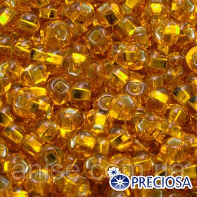 Бісер Preciosa 10/0 кол. 87060, Прозорий з срібною смугою TSL, Помаранчевий, Круглий, (УТ0003156)