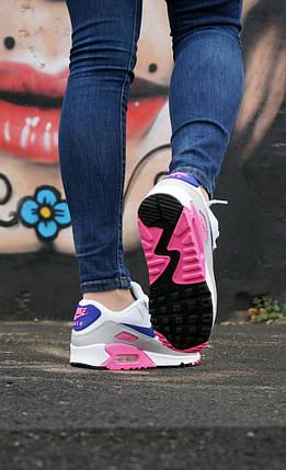 "Кроссовки Nike Air Max 90 WMNS ""White/Rose/Purple""., фото 2"